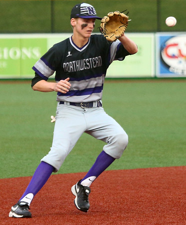 4-19-17<br /> Western vs Northwestern baseball<br /> NW's Collin Hodson scoops up the ball.<br /> Kelly Lafferty Gerber | Kokomo Tribune
