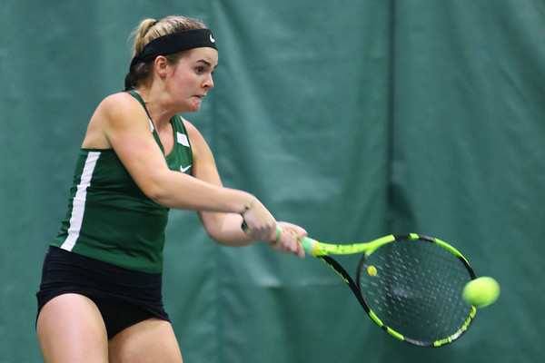 Tennis between Eastern HS and Western HS on April 10, 2017. Eastern's Lauren Hickey playing in the #1 singles match.<br /> Tim Bath | Kokomo Tribune