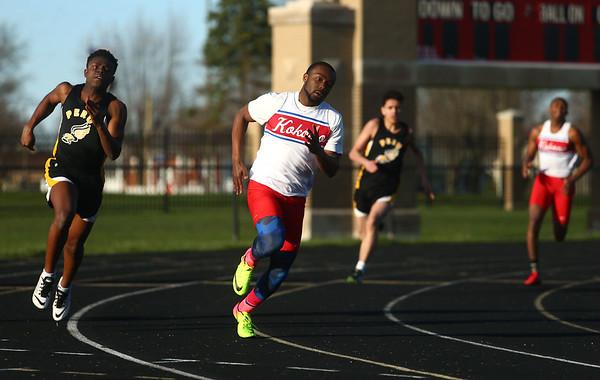4-7-17<br /> Kokomo boys track and field<br /> Andrecus Eddington in the 200 m dash.<br /> Kelly Lafferty Gerber   Kokomo Tribune