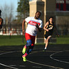 4-7-17<br /> Kokomo boys track and field<br /> Andrecus Eddington in the 200 m dash.<br /> Kelly Lafferty Gerber | Kokomo Tribune