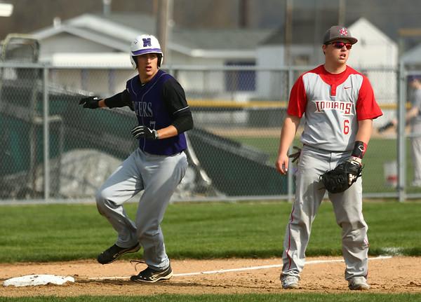 4-15-17<br /> Northwestern vs Mississenewa baseball<br /> NW's Thomas Crocker rounds third base.<br /> Kelly Lafferty Gerber | Kokomo Tribune