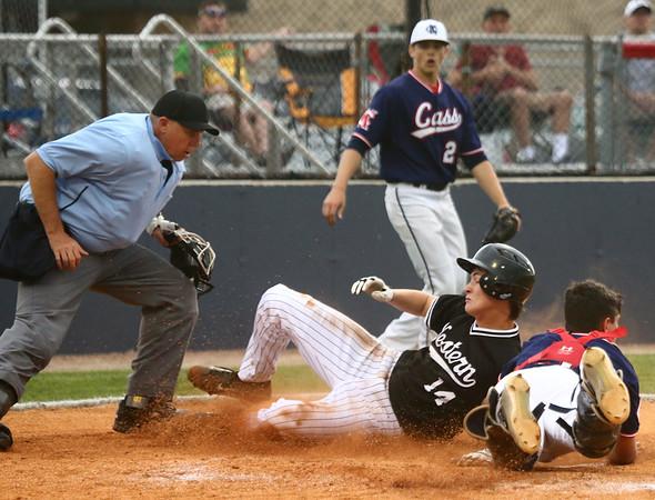 4-26-17<br /> Cass vs Western baseball<br /> Western's Pat Mills is safe as he slides to home.<br /> Kelly Lafferty Gerber   Kokomo Tribune