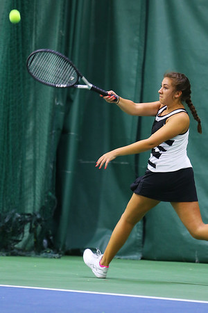 Tennis between Eastern HS and Western HS on April 10, 2017. Western's Abigail Moreno playing in the #1 singles match.<br /> Tim Bath | Kokomo Tribune