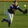 2-14-17<br /> Northwestern vs Oak Hill softball<br /> Megan Osman makes the catch in the outfield for an out.<br /> Kelly Lafferty Gerber | Kokomo Tribune
