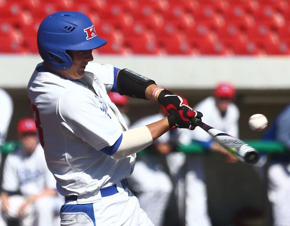 4-8-17<br /> Kokomo baseball vs SB Riley<br /> Jack Perkins bats.<br /> Kelly Lafferty Gerber   Kokomo Tribune