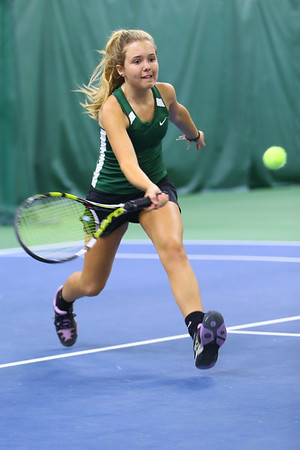 Tennis between Eastern HS and Western HS on April 10, 2017. Eastern's Casey Clark playing in the #2 singles match.<br /> Tim Bath | Kokomo Tribune