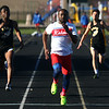 4-7-17<br /> Kokomo boys track and field<br /> Andrecus Eddington in the 100 m dash.<br /> Kelly Lafferty Gerber | Kokomo Tribune