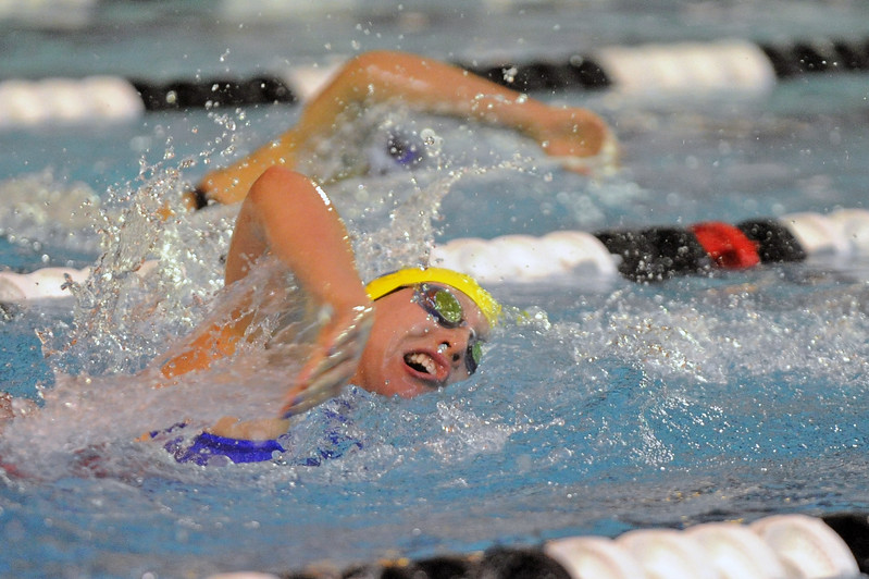 Molly Green chases Thunder Basin's Sani Carsrud in the 200-yard freestyle during the state swim meet on Saturday, Nov. 4 at the Campbell County Aquatic Center. Mike Pruden | The Sheridan Press