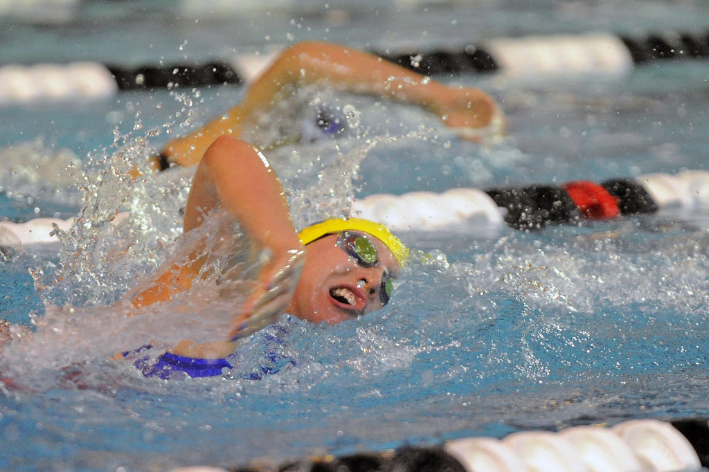 Molly Green chases Thunder Basin's Sani Carsrud in the 200-yard freestyle during the state swim meet on Saturday, Nov. 4 at the Campbell County Aquatic Center. Mike Pruden   The Sheridan Press