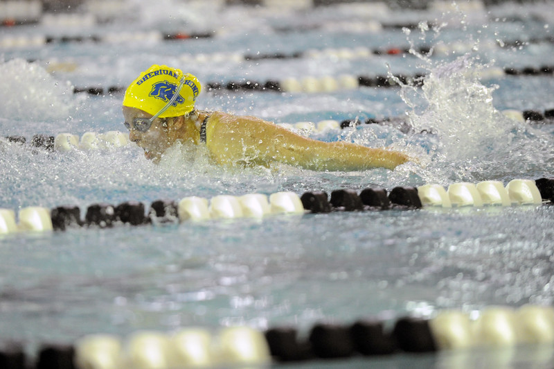 Taylor Baldacci swims the 100-yard butterfly during the state meet on Saturday, Nov. 4 at the Campbell County Aquatic Center. Mike Pruden | The Sheridan Press