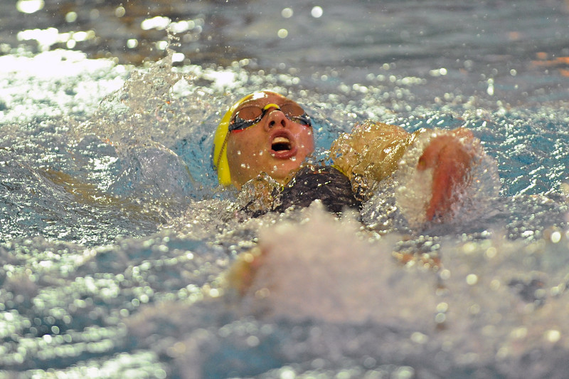 Jadyn Mullikin swims the backstroke in the 200-yard IM during the state swim meet on Saturday, Nov. 4 at the Campbell County Aquatic Center. Mike Pruden | The Sheridan Press