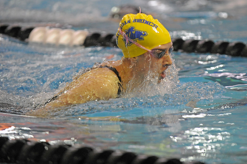 Zoe Robison swims the breaststroke leg of the 200-yard IM during the state meet on Saturday, Nov. 4 at the Campbell County Aquatic Center. Mike Pruden | The Sheridan Press