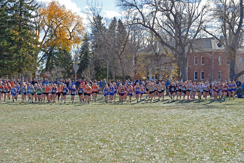 Competitors take off at the beginning of the girls 3A state cross-country race on Saturday, Oct. 21 at the Veterans Affairs Medical Center campus in Sheridan. Four hundred eighty-eight runners competed in six races at the VA. Mike Pruden | The Sheridan Press