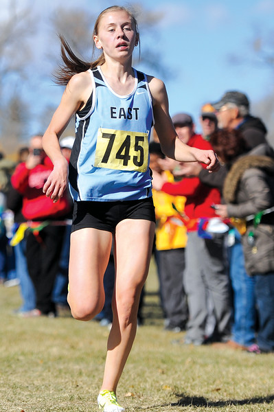 Ryan Patterson | The Sheridan Press Cheyenne East's Mackenzie Marler wins the girls 4A state cross country race Saturday at the Veterans Affairs Medical Center campus in Sheridan.