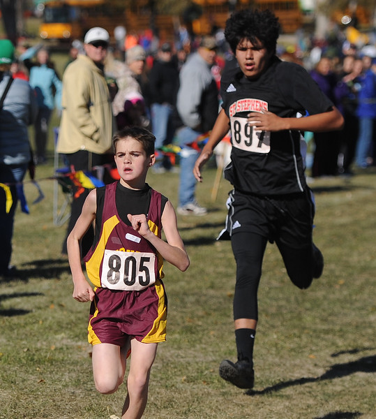 Ryan Patterson | The Sheridan Press Big Horn's Brandon Cummins races toward the finish line Saturday at the state cross country meet at the Veterans Affairs Medical Center campus in Sheridan.