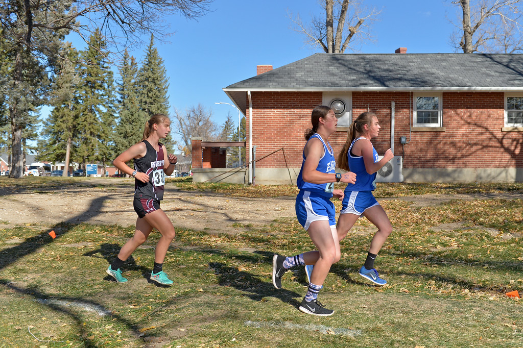 Runners race around the winding track during the Wyoming state cross-country meet on Saturday, Oct. 21 at the Veteran Affairs Medical Central in Sheridan. Mike Pruden | The Sheridan Press