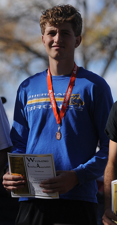 Ryan Patterson | The Sheridan Press Sheridan's Brian Gonda placed ninth overall in 4A at the state cross country meet Sautrday at the Veterans Affairs Medical Center campus in Sheridan.