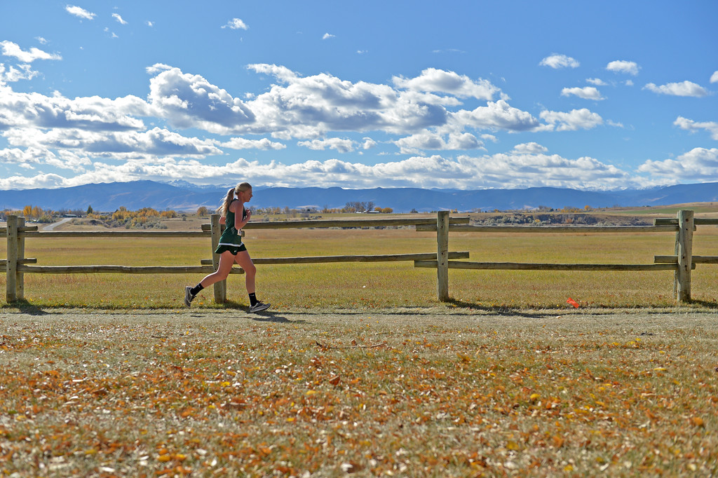 Tongue River's Kalie Bocek runs in the girls 2A state cross-country meet on Saturday, Oct. 21 at the Veterans Affairs Medical Center campus in Sheridan. Mike Pruden | The Sheridan Press