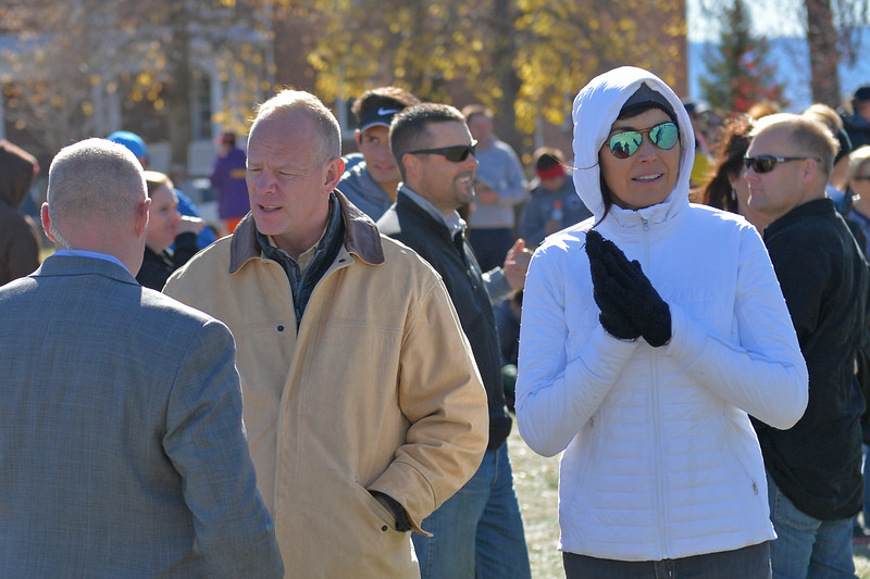 Governor Matt Mead, left, and wife Carol Mead take in the Wyoming state cross-country meet festivities on Saturday, Oct. 21 at the Veterans Affairs Medical Center campus in Sheridan. Mike Pruden | The Sheridan Press