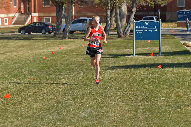 Rawlins freshman Sydney Throvaldson hits the final stretch of the girls 3A state cross-country meet on Saturday, Oct. 21 at the Veterans Affairs Medical Center campus in Sheridan. Thorvaldson won the race by two minutes. Mike Pruden | The Sheridan Press