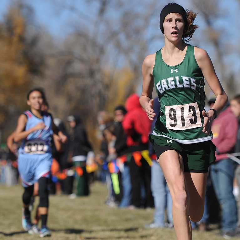 Ryan Patterson | The Sheridan Press Tongue River's Macey McArthur finished 13th overall at the state cross country meet Saturday at the Veterans Affairs Medical Center campus in Sheridan.
