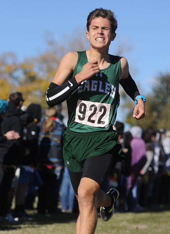 Ryan Patterson | The Sheridan Press Tongue River's Cooper Vollmer finishes strong at the state cross country meet Saturday at the Veterans Affairs Medical Center campus in Sheridan. Vollmer placed 10th overall in 2A.