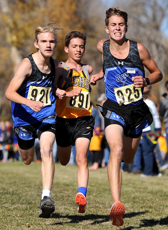 Ryan Patterson | The Sheridan Press Christopher Caldwell, left, and Joseph Jurewicz of Thunder Basin High School race toward the finish line Saturday at the state cross country meet at Veterans Affairs Medical Center campus in Sheridan.