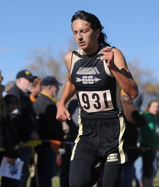 Ryan Patterson   The Sheridan Press Wright's Jayden Vasquez races to the finish line Saturday at the state cross country meet at the Veterans Affairs Medical Center campus in Sheridan.