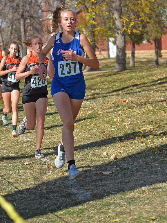 Douglas' Lauren Gates competes in the girls 3A state cross-country meet on Saturday, Oct. 21 at the Veterans Affairs Medical Center campus in Sheridan. Mike Pruden | The Sheridan Press