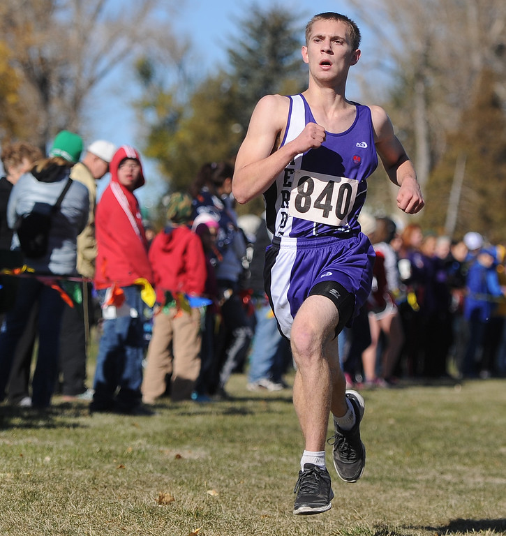 Ryan Patterson | The Sheridan Press Glenrock's Skyler Piasecki runs toward the finish line Saturday at the state cross country meet at the Veterans Affairs Medical Center campus in Sheridan.