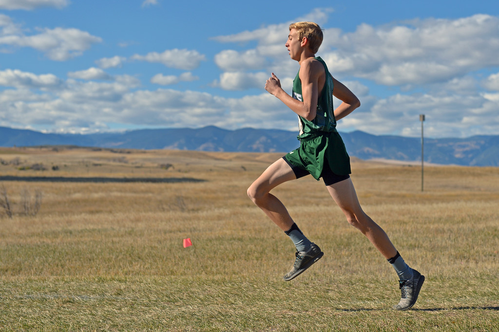 Tongue River's Jett Walker competes in the boys 2A state cross-country meet on Saturday, Oct. 21 at the Veterans Affairs Medical Center campus in Sheridan. Mike Pruden | The Sheridan Press