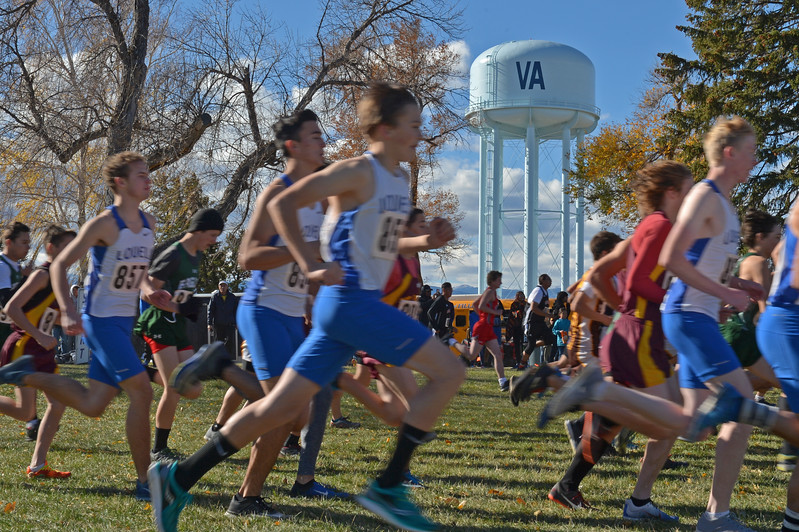Runners breeze past spectators at the starting line of the 2A boys cross-country race on Saturday, Oct. 21 at the Veterans Affairs Medical Center campus in Sheridan. This was the fifth straight year the Sheridan VA hosted the state meet. Mike Pruden | The Sheridan Press