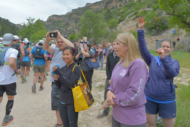 Justin Sheely | The Sheridan Press<br /> Spectators cheer at the start of the 100-mile run during the 25th Bighorn Mountain Wild and Scenic Trail Run Friday morning in the Tongue River Canyon near Dayton. Hundreds of runners from across the globe visit Sheridan and Dayton, Wyoming, to compete in the ultra marathons.