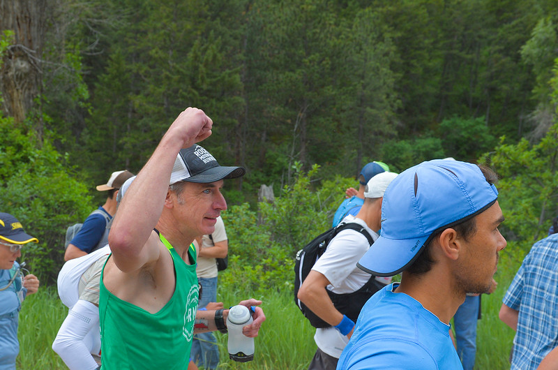 Justin Sheely   The Sheridan Press<br /> Paul Hooge of Boulder, Colorado, pumps his fist at the start of the 100-mile run during the 25th Bighorn Mountain Wild and Scenic Trail Run Friday morning in the Tongue River Canyon near Dayton. Hundreds of runners from across the globe visit Sheridan and Dayton, Wyoming, to compete in the ultra marathons.