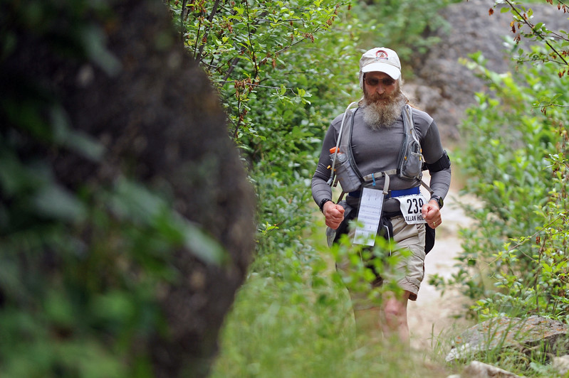 Allan Holtz of Oakdale, Minnesota, begins his ascent up the mountain during the Bighorn Mountain Wild and Scenic Trail Run 100-mile race on Friday, June 16 in Tongue River Canyon. Mike Pruden | The Sheridan Press