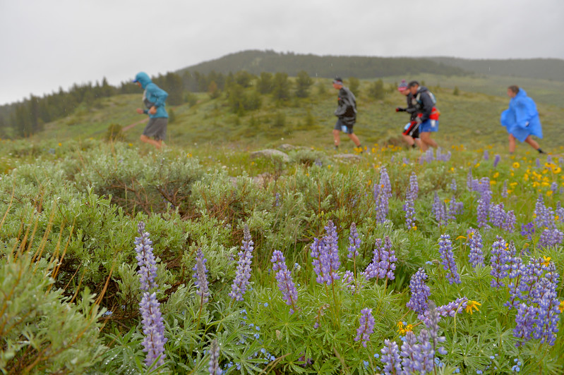 Justin Sheely | The Sheridan Press<br /> Runners dash up the hill at the start of the 32-mile race during the 25th annual Bighorn Mountain Wild and Scenic Trail Run Saturday at the Dry Fork aid station. Cold rain and wind brought a soggy start to Saturday's events.