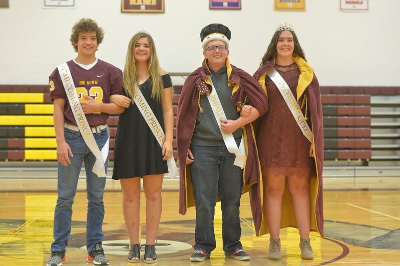 Justin Sheely | The Sheridan Press<br /> Big Horn's homecoming court was announced during the pep rally Thursday at Big Horn High School. From left: homecoming prince Kade Eisele and Shyan Davidson as princess; homecoming king David Widmer and Cheyna Bradshaw as queen.