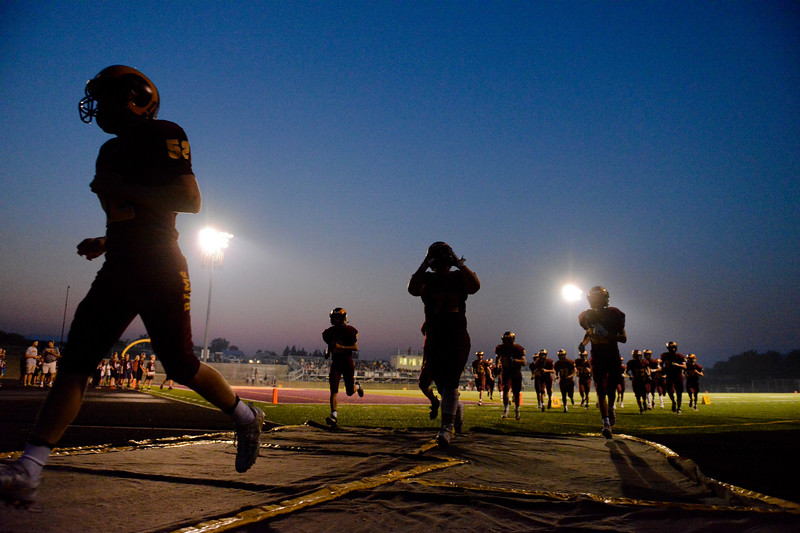 Justin Sheely | The Sheridan Press<br /> The Rams exit the field for halftime during the Rams first home game Friday night at Big Horn High School. The Rams won 44-14 over Rocky Mountain class 1a football.