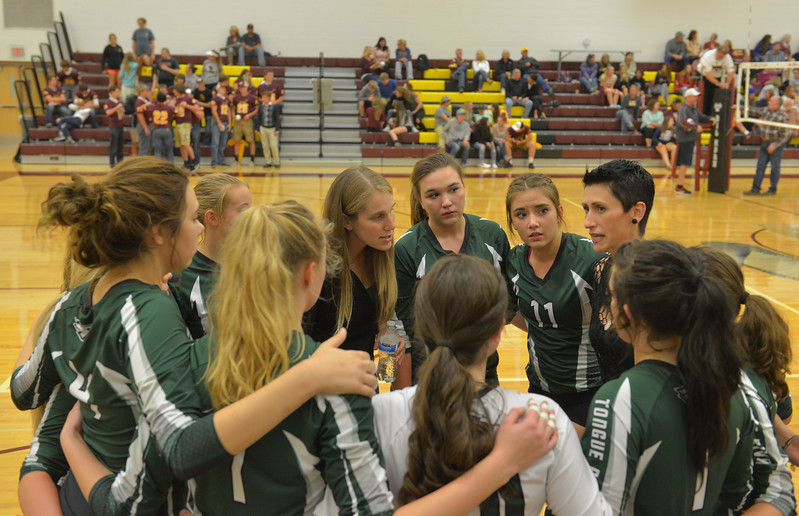 Justin Sheely | The Sheridan Press<br /> Tongue River High School Lady Eagles huddle after losing the first set during the game against the Lady Rams Thursday at Big Horn High School. The Lady Rams topped the Lady Eagles in all three sets: 25-22, 25-18, 25-22.