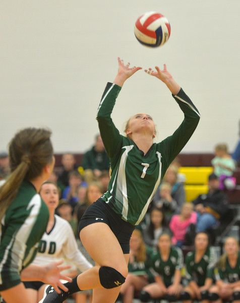 Justin Sheely | The Sheridan Press<br /> Tongue River High School's Reagan Mullaney sends the ball over the net in the first set of the game against the Lady Rams Thursday at Big Horn High School. The Lady Rams topped the Lady Eagles in all three sets: 25-22, 25-18, 25-22.