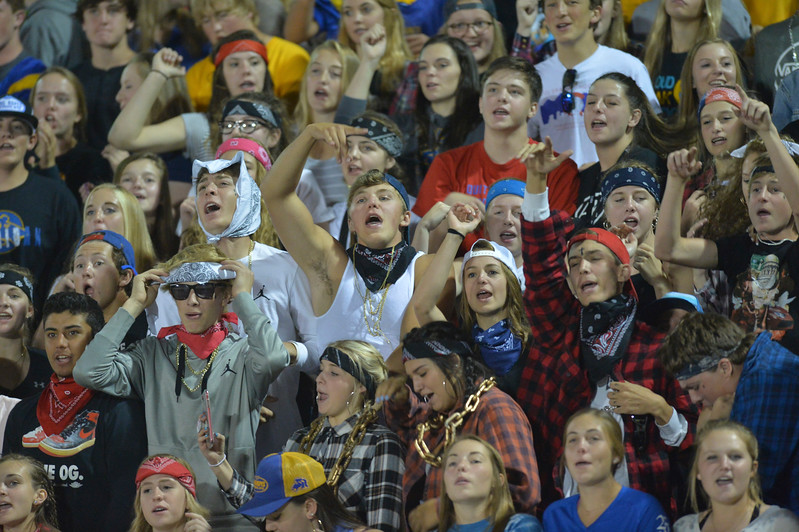 Justin Sheely | The Sheridan Press<br /> Sheridan High School students cheer during the game against the Mustangs Friday night at Sheridan High School. The Broncs held on to win 37-34 in overtime.