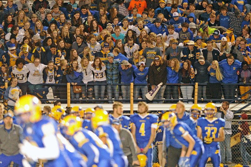 The Sheridan High School student section cheers late in the Broncs' 52-7 homecoming victory over Cheyenne South on Friday, Sept. 29 at Homer Scott Field. Mike Pruden | The Sheridan Press