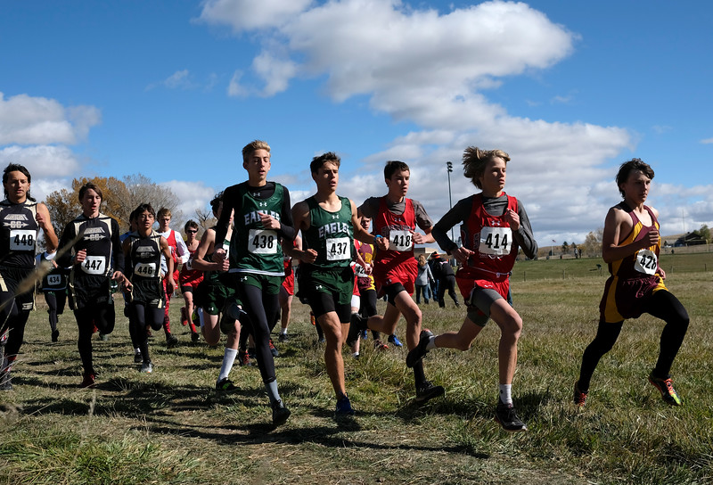 Justin Sheely | The Sheridan Press<br /> The boys take off from the starting line in the 2A east conference cross-country meet Saturday at Tongue River High School in Dayton.