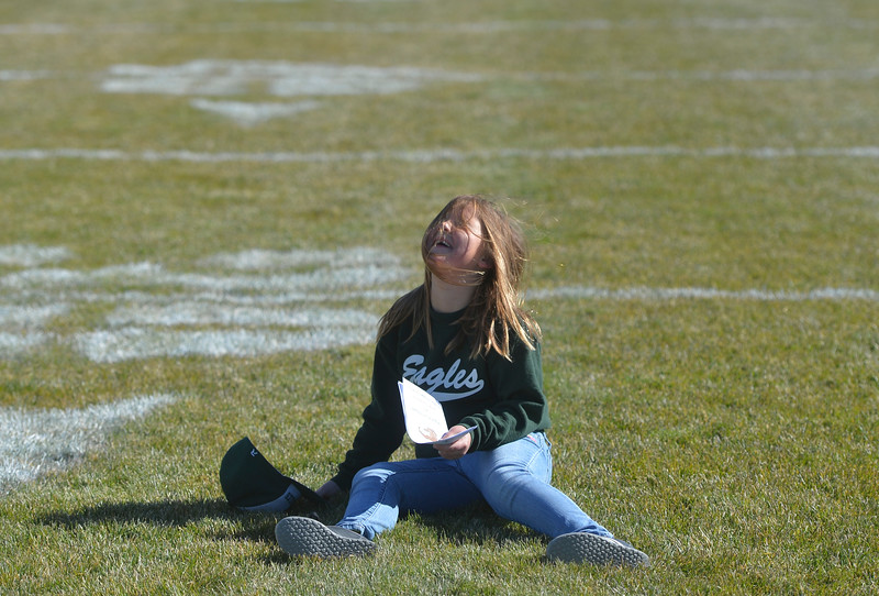 Justin Sheely | The Sheridan Press<br /> Seven-year-old Caelin Reish plays on the football field during the 2A east conference cross-country meet Saturday at Tongue River High School in Dayton.