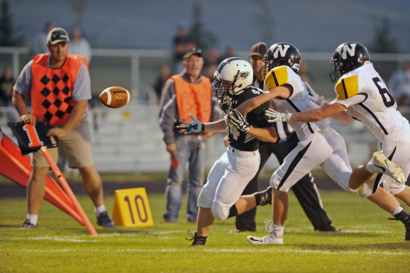 Running back Zach Schankey loses the football as he rushed toward the end zone on Friday, Sept. 1 at Tongue River High School. The ball bounced out of bounds, and Schankey rushed in for a touchdown a few plays later. Mike Pruden | The Sheridan Press