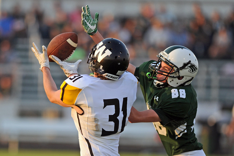 Wright's Damion Goff can't haul in a pass against Tongue River's Kobe DeWitt on Friday, Sept. 1 at Tongue River High School. The Eagles beat the Panthers 14-6. Mike Pruden | The Sheridan Press