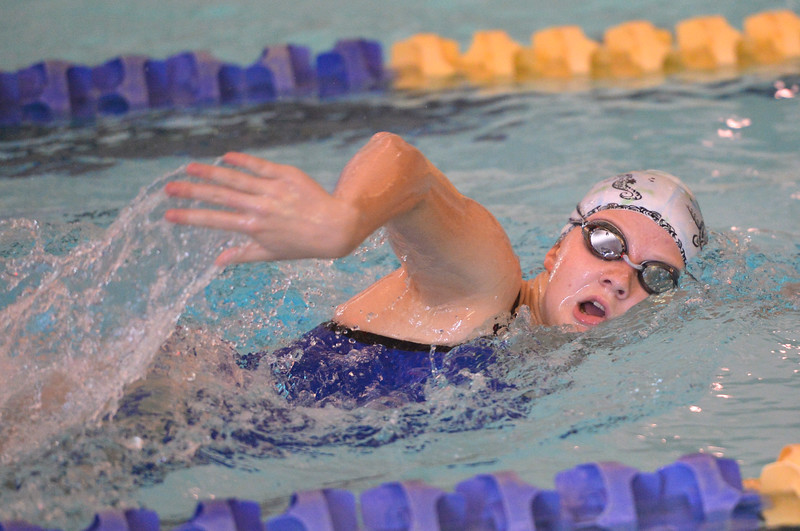 Justin Sheely | The Sheridan Press<br /> Sheridan High School's Taylin Maxwell swims in the 200m SC freestyle during the swim meet Tuesday at the Sheridan Junior High School Pool.