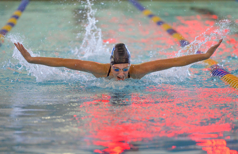Justin Sheely | The Sheridan Press<br /> Sheridan High School's Jadyn Mullikin does the butterfly in the 200m SC IM during the swim meet Tuesday at the Sheridan Junior High School Pool.