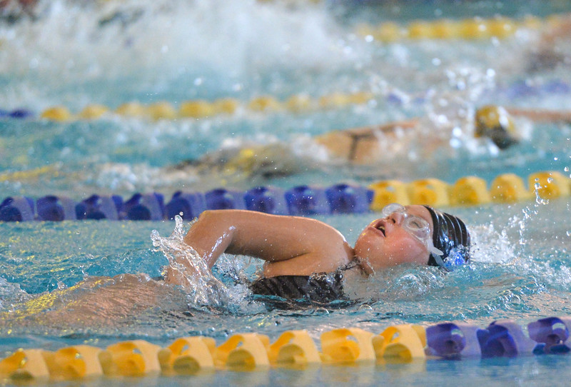 Justin Sheely | The Sheridan Press<br /> Sheridan High School's Larqin Duca swims in the 50m freestyle during the swim meet Tuesday at the Sheridan Junior High School Pool.