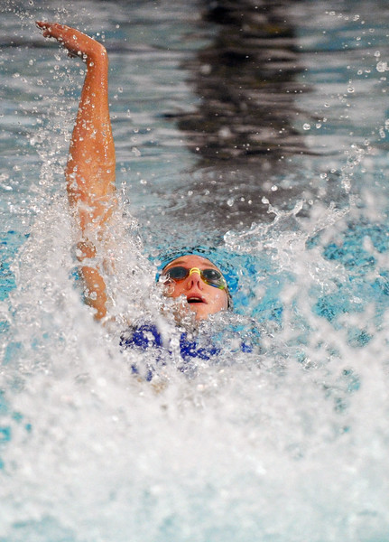 Jadyn Mullikin swims the backstroke leg of the 200-meter medley relay on Saturday Sept. 23 at Sheridan Junior High School. Mullikin and her relay team won the race and set a new school record of 2 minutes, 7.51 seconds. Mike Pruden | The Sheridan Press